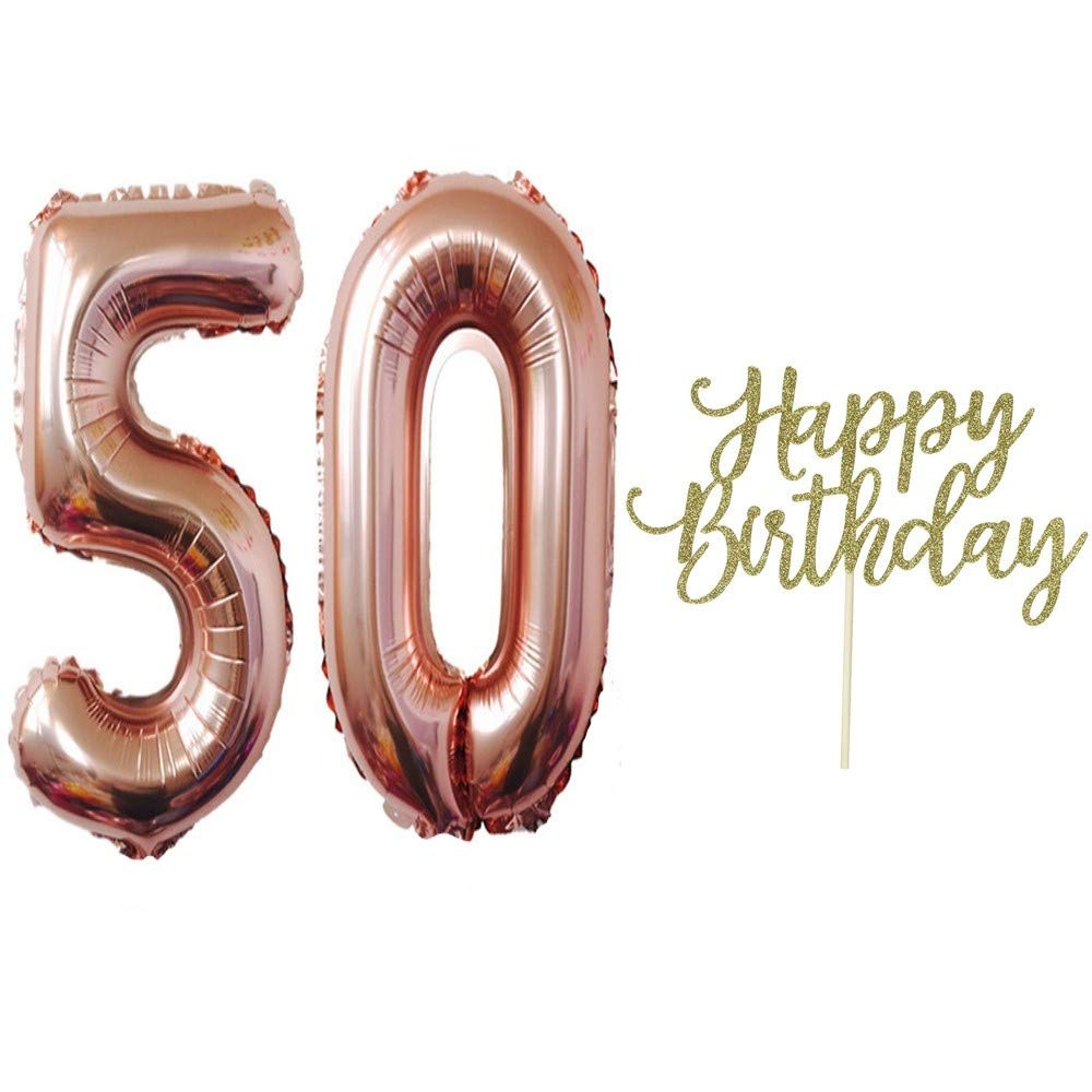 50th Birthday Balloons,50th Birthday Decorations,Number 50 Rose Gold 32 Inch,with Happy Birthday Cake Topper