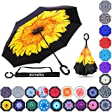 Zameka Double Layer Inverted Umbrellas Reverse Folding Umbrella Windproof UV Protection Big Straight Umbrella Inside Out Upside Down for Car Rain Outdoor with C-Shaped Handle (Sun Flower)