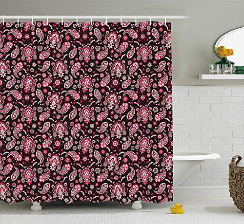 Pink Brown Paisley - TYANG Ethnic Shower Curtain, Vintage Traditional Paisley Pattern with Oriental Eastern Bohemian Print, Fabric Bathroom Decor Set with Hooks, 60 W x 72 L inches, Dark Brown Light Pink