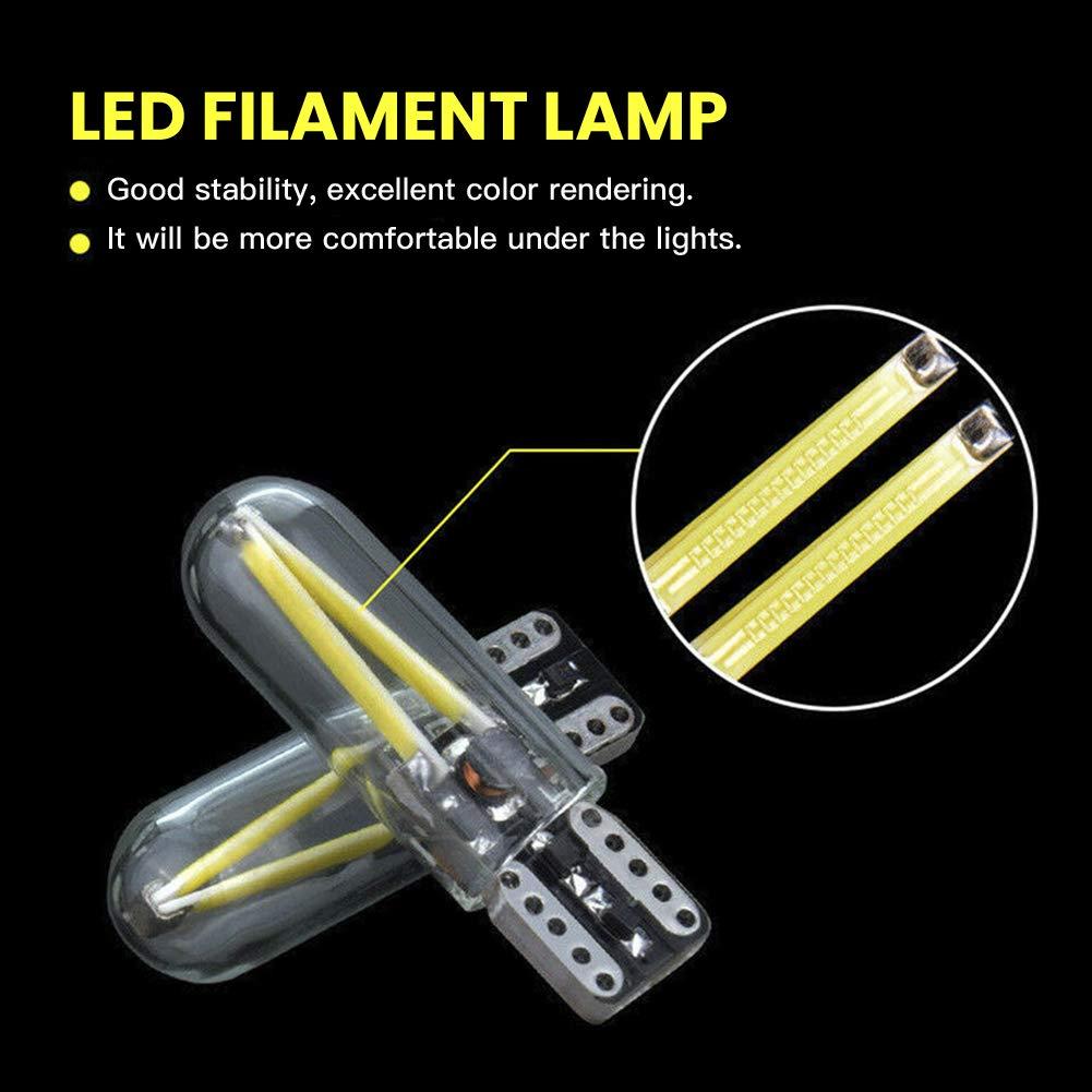 Mioloe W5W COB LED Bombillas LED Blancas para Luces Laterales del autom/óvil Interior del Tablero de Instrumentos Placa de n/úmero Placas de Arranque Paquete de 10