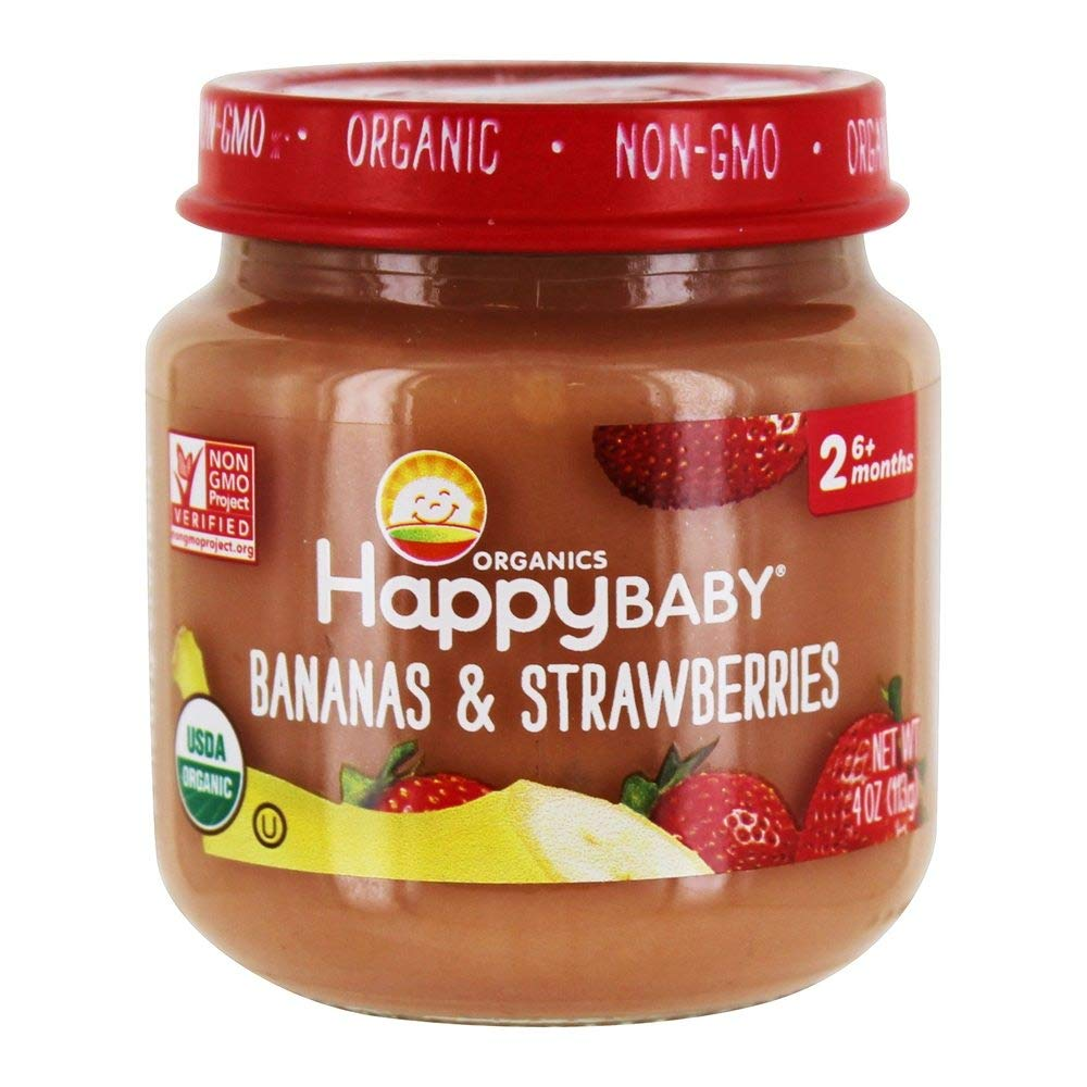 HAPPY BABY Organic Stage 2 Bananas & Strawberries, 4 OZ: Amazon.com: Grocery & Gourmet Food