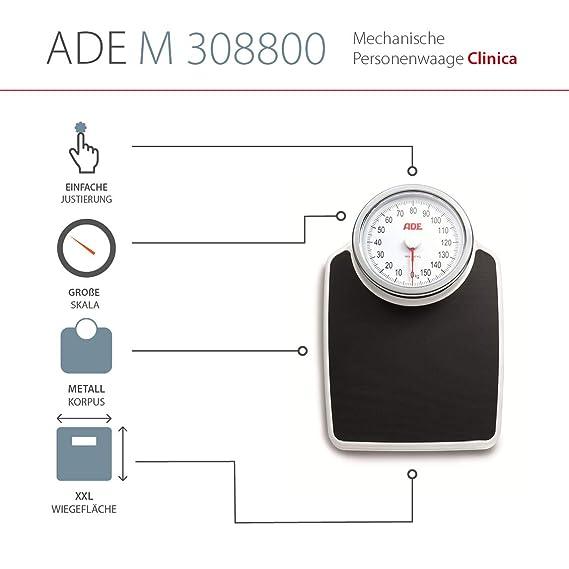 ADE Báscula mecánica de baño M308800 Clínica. Analógica, retro y XL. Color negro y plata: Amazon.es: Salud y cuidado personal