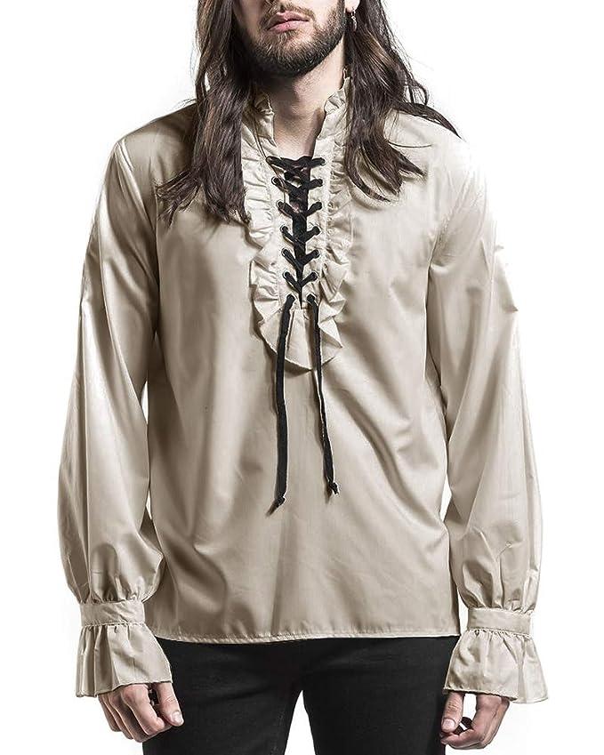 Steampunk Men's Shirts Bbalizko Mens Ruffled Gothic Shirts Steampunk Victorian Pirate Cosplay Costume Tops $25.89 AT vintagedancer.com