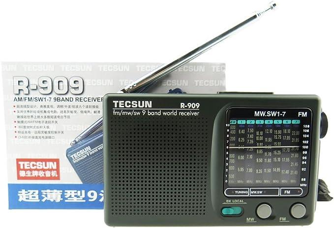 TECSUN R-909 AM/FM/SW1-7 9 Bands World Band Receiver Portable Radio (R-909)