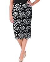 JOA Womens Los Angeles Floral Lace Pencil Skirt