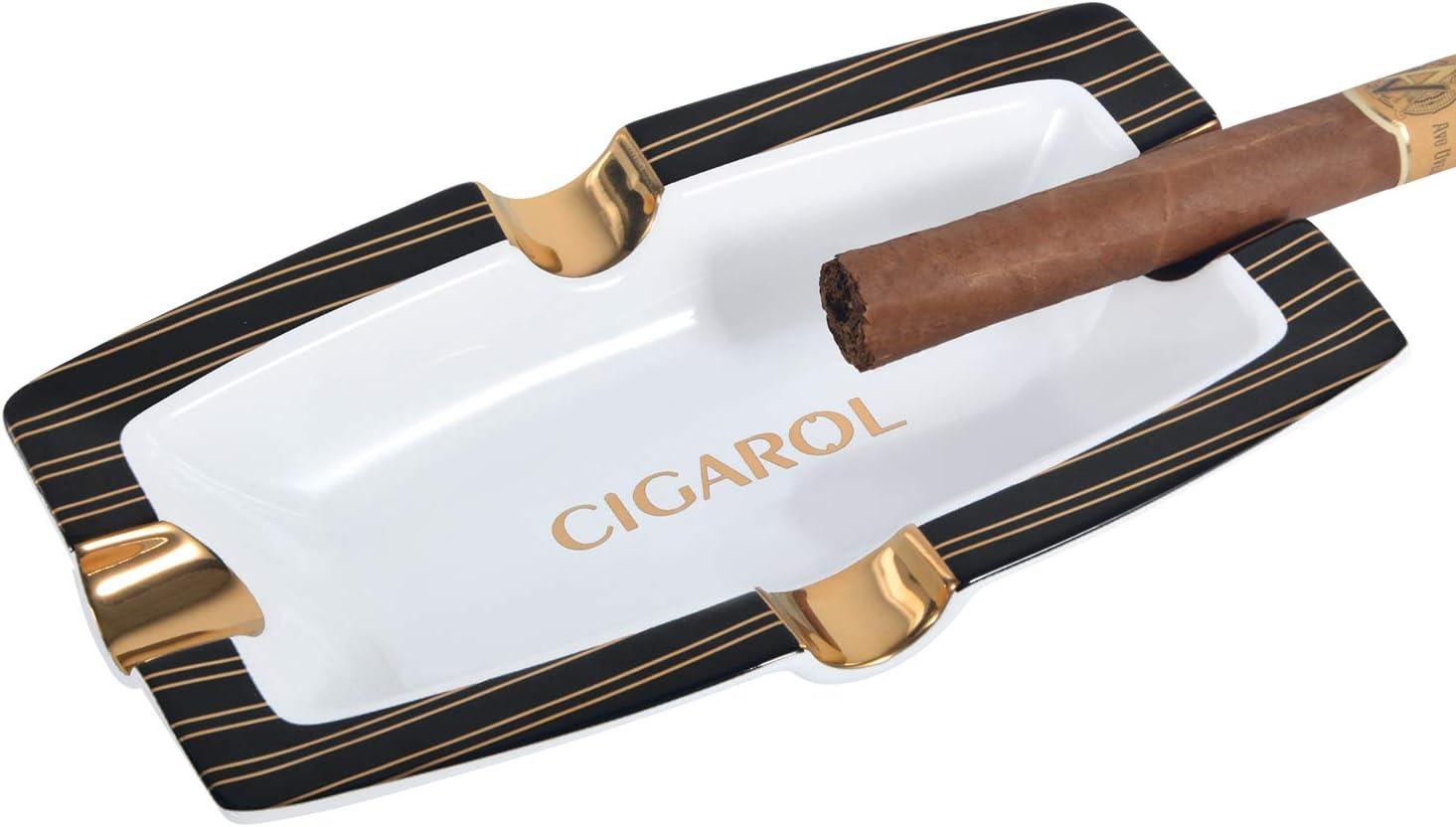 Cigar Ashtray, Ceramic Ash Tray, 4 Slots Cigar Rest Holder, Indoor Outdoor Desktop Ash Holder for Smokers, Cigar Accessories for Indoor, Outdoor, Patio, Home, Office Use