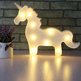Aizesi Einhorn Lampe Weiss Einhorn Led Nachtlicht Kinderzimmer Madchen Wand Deko Tischlampe Deko Wohnzimmer Babyzimmer Wohnzimmer Party Weihnachten