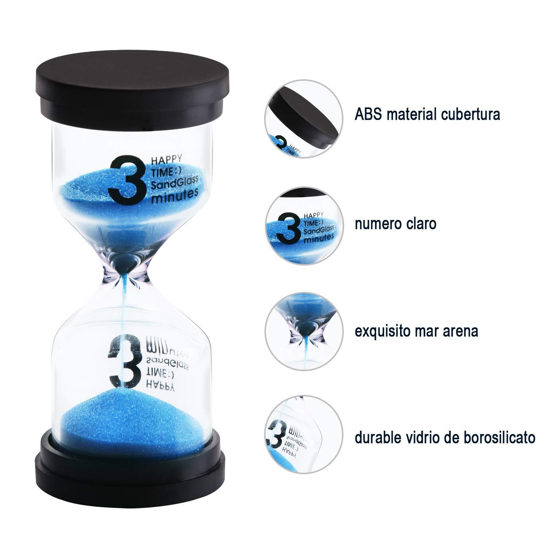 JUNDUN Reloj de Arena Temporizador de Arena en 6 Colores 1/3 / 5/10 / 15/30 Minutos Reloj de Arena para Niños, Aula, Cocina, Juegos, de Cepillado, ...
