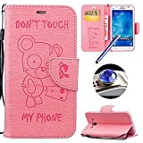 Galaxy J5 2015 Wallet Case,Samsung Galaxy J5 2015 Leather Case,Etsue Cute Funny Bear Quote Cool Leather Magnetic Bookstyle Strap Wallet Case Cover with Card Holder for Samsung Galaxy J5 2015+Blue Stylus Pen+Bling Glitter Diamond Dust Plug(Colors Random)-Bear,Pink