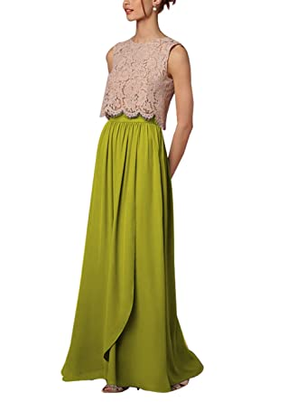 b3293b77a CoutureBridal Women Long Chiffon High Waist Full Length Maxi Skirt  Bridesmaid Prom Apple Green