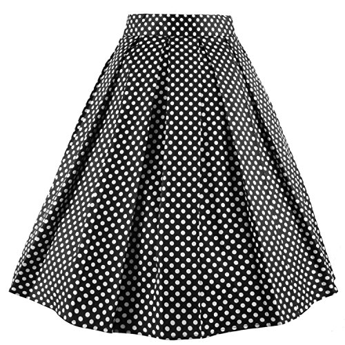 Dressever Women's Vintage A-line Printed Pleated Flared Midi Skirt Dots X-Large Dot Petticoat