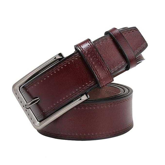 Paraweyse - Cinturón para hombre de piel auténtica de vacuno, ancho, 3,8 cm