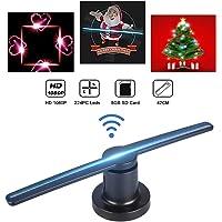 VBESTLIFE 3D Holographic Proiettore Portatile LED Hologram Pubblicità Player 3D Holographic Display Proiettore Fan LED Proiettore Olografico Proiettore per Pubblicità/Marketing(Black)
