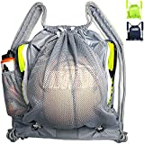 Tigerbro Soccer Backpack for Youth Kids Girls Boys Women Men Sports Bag for Basketball Football with Ball Holder Shoe Compartment Waterproof