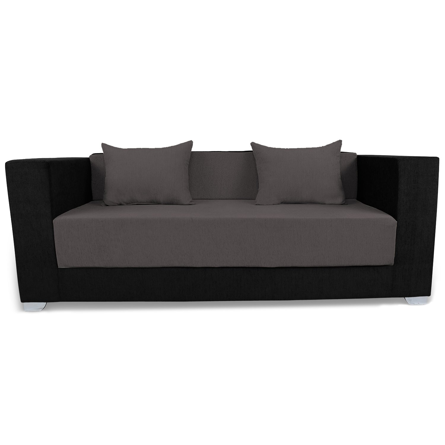 Adorn India Almond 3 Seater Sofa Cumbed Grey Black