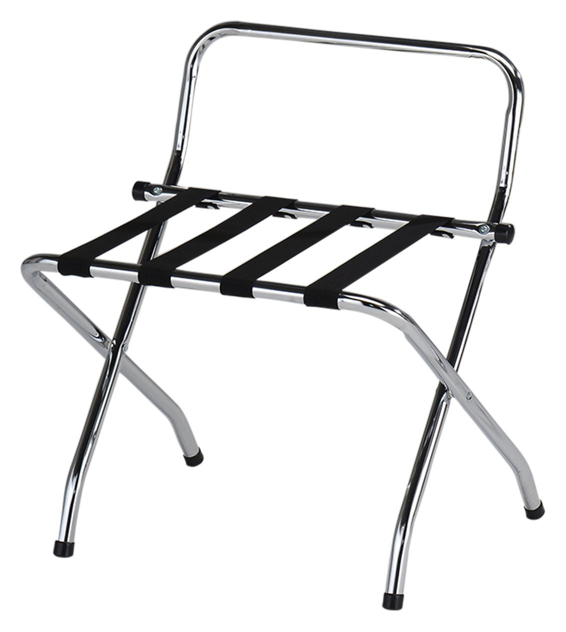 Kings Brand Furniture - Chrome / Black Metal Foldable High Back Luggage Rack