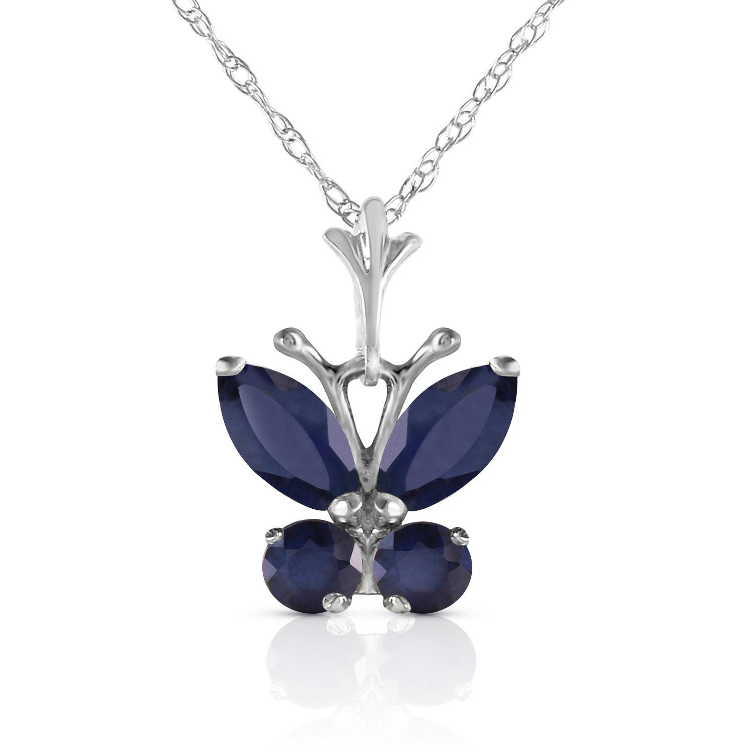 ALARRI 0.6 Carat 14K Solid White Gold Butterfly Necklace Natural Sapphire with 18 Inch Chain Length