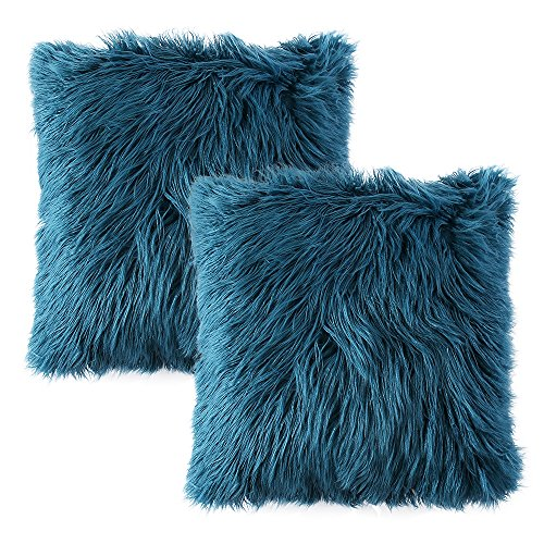 Ojia Pack of 2 Decorative Faux Fur Throw Pillow Cover Accent Soft Plush Boho Mongolian Cushion Case for Bedroom Livingroom Sofa Couch(18 x 18 Inch,Teal Blue) (Blue Fur Pillow)