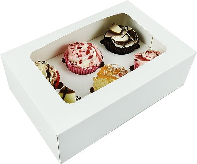 Caja de embalaje profesional para cupcakes con ventana de acetato extraíble para cuatro tartas, montaje plano, color blanco, individual: Amazon.es: Hogar