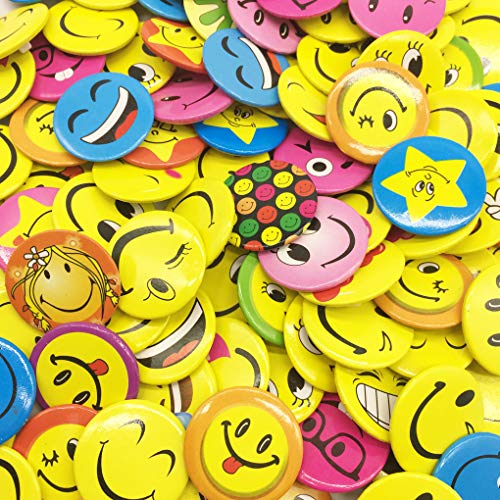 HYHP Mini Buttons, mini Smiley Smile Face Button Pins (100 Pieces, 1.2 Inch, Assorted Patterns, Shipped Randomly)