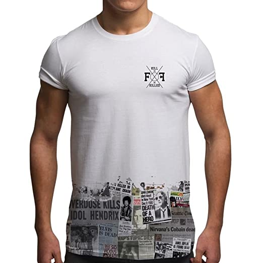 4ec46678 Amazon.com: Men's Graphic Tees Sublimation T Shirt Summer Tops Dead  Rockstars Newspaper Grunge T Shirt by Fight Flight: Clothing