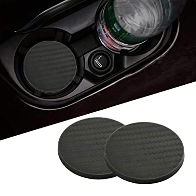 Lipctine 2 Pack 2.75 Inch Soft Rubber Pad Set Round Auto Cup Holder Insert Drink Coaster fit for BMW Ford Chevrolet Silverado for BMW Ford Chevrolet Silverado Jeep Wrangler Liberty GMC Car Truck: Automotive