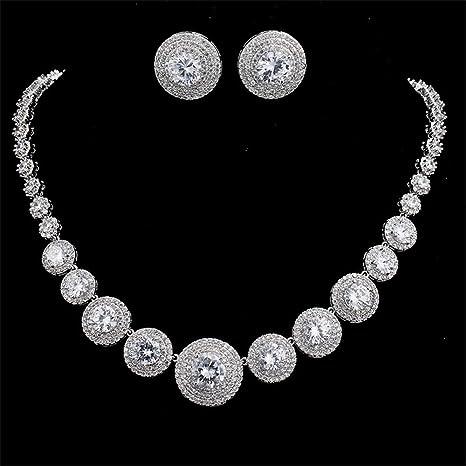 Cristal De Dama De Honor Collar y Pendiente vendedor del Reino Unido Conjunto De Joyas De Boda De Plata 925