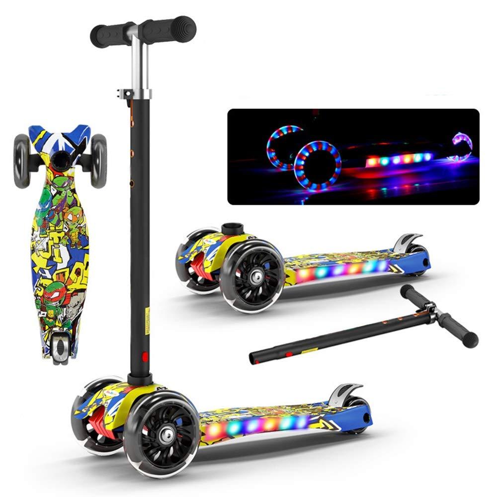 Wink zone 子供用フラッシュミュージックスクーター、折りたたみ式、4速調整、折りたたみ式、子供用おもちゃ、子供用ギフトに最適 購入へようこそ ( Color : Yellow )   B07QYM56CD