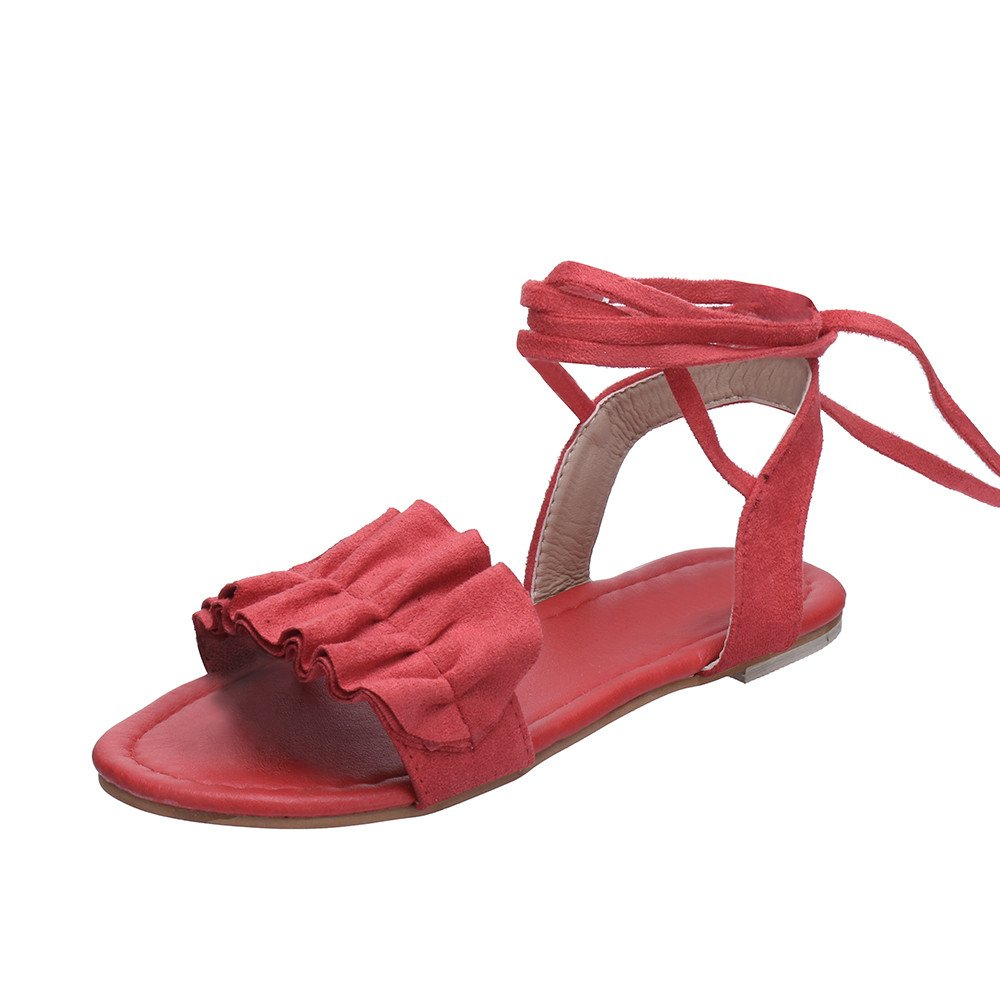 Nevera Ladies Cross Tie Up Open Toe Ankle Strap Flat Sandals for Women Red