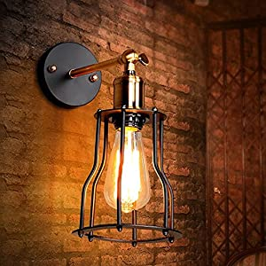 sanyi industrial edison retro vintage wall lamp lights vintage style industrial black mini wire. Black Bedroom Furniture Sets. Home Design Ideas