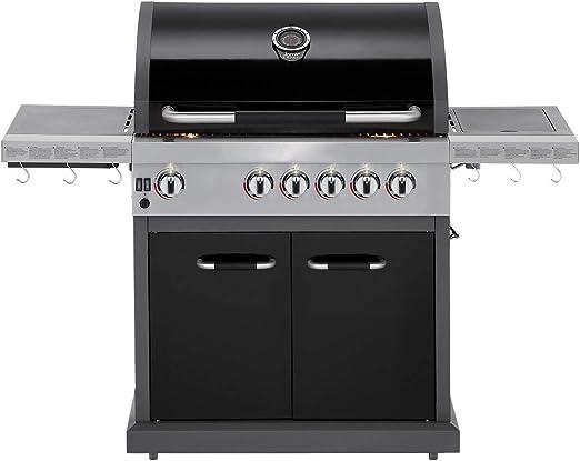 Lüllmann Jamie Oliver BBQ Pro 4 Deluxe 407001 - Barbacoa de Gas con Tapa Protectora, Quemador Lateral y Accesorios: Amazon.es: Jardín