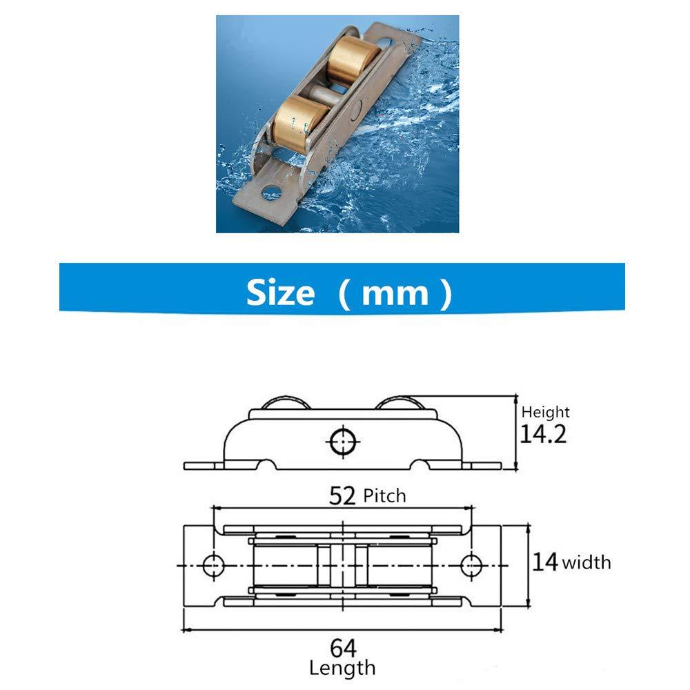 14mm Breite, Konkave rollen Stillshine 4 St/ück Tandem Rollen L/äufer Rad Montage f/ür Schiebefenster und Schiebet/ür