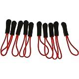 【ノーブランド 品】10個 ジッパープル 交換 ジップコード プラー スライダー ジャケット バックパック ブラック ジッパープル 赤
