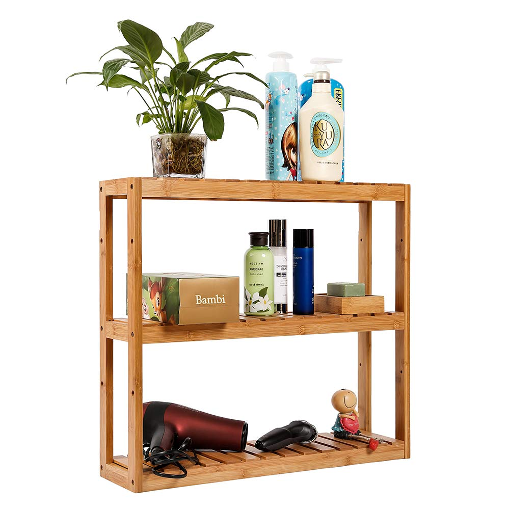 Bathroom Shelf 3-Tier Wall Mount Shelf Living Room Kitchen Adjustable Free Standing Multifunctional Utility by Domax