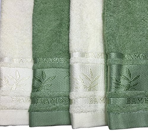 Q.T. Bamboo Bamboo Large Soft Kitchen Dish Hand Towel Set of 4 (Green/Ivory)