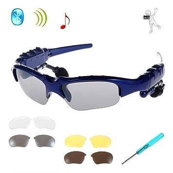 Gafas de Sol Inalámbricos,KINGCOO Plegables Bluetooth Auriculares Estéreo Música para Teléfonos Inteligentes Dispositivos Bluetooth + Lente de 3 pares ...