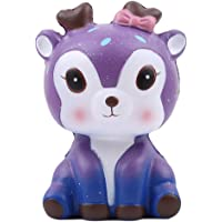 HENGSONG Kawaii Deer Squishies Toy Slow Rising Relieves Stress Soft Toy for Children and Adult Toy Gift Purple