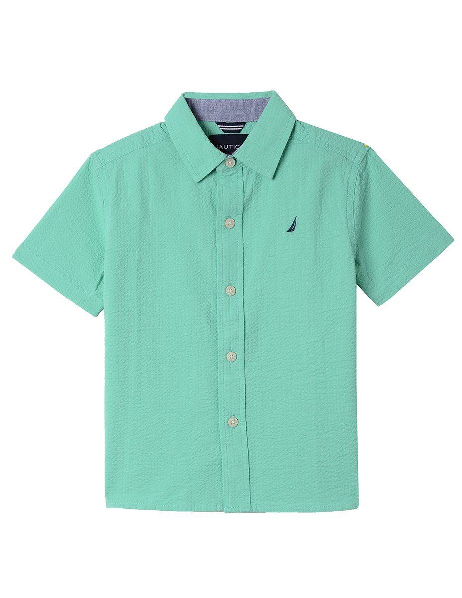 Nautica Big Boys' Short Sleeve Poplin Shirt, Sunair Spearmint, Medium (10/12)