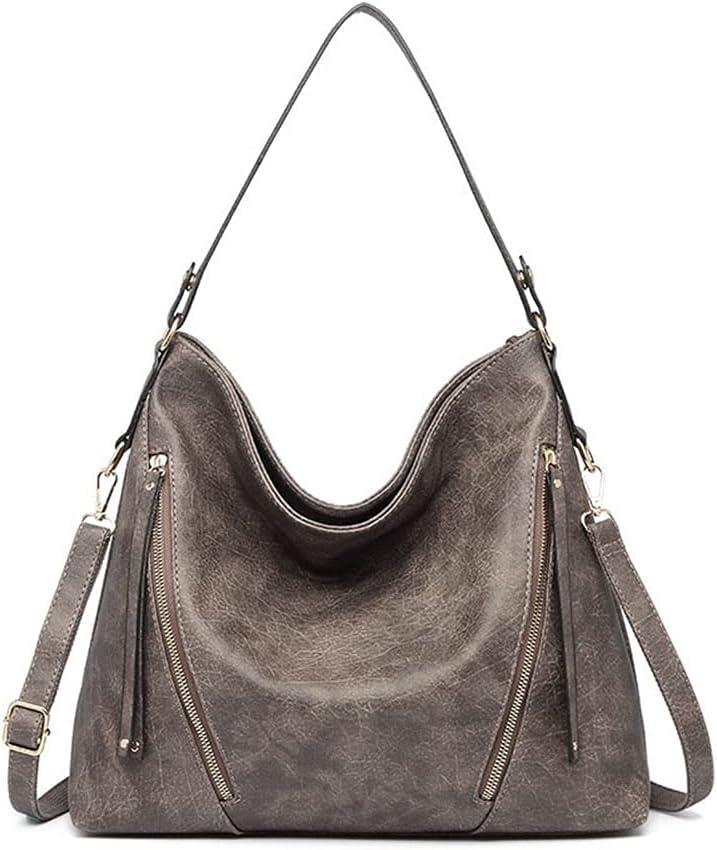 Bolso de hombro Bolsos de mujer Casual Mujer Bolsos Moda PU Cuero Suave Gran Capacidad Color Sólido Bolsa de Lujo (Color: Gris Oscuro, Tamaño: 37x12x31 cm)