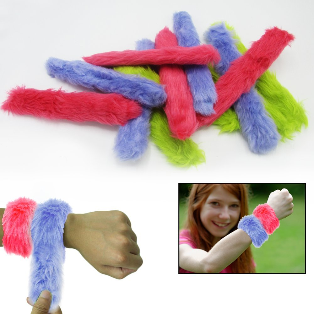 Fur Slap Bracelets - Mega Pack of 12 - Enjoy This Bulk Fun Set of furry Slap Hand-Bands at School, Home, Birthday Parties, Classroom Awards, Holiday Gift Prizes...
