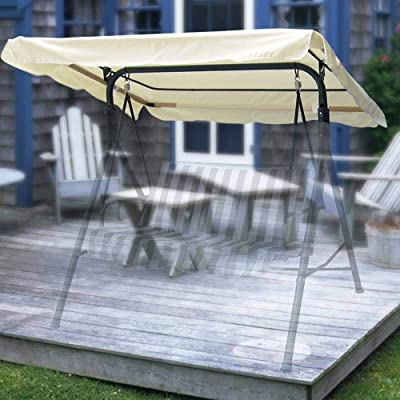 LIRUIDE Beige Patio Replacement Swing Canopy 194x112cm : Garden & Outdoor