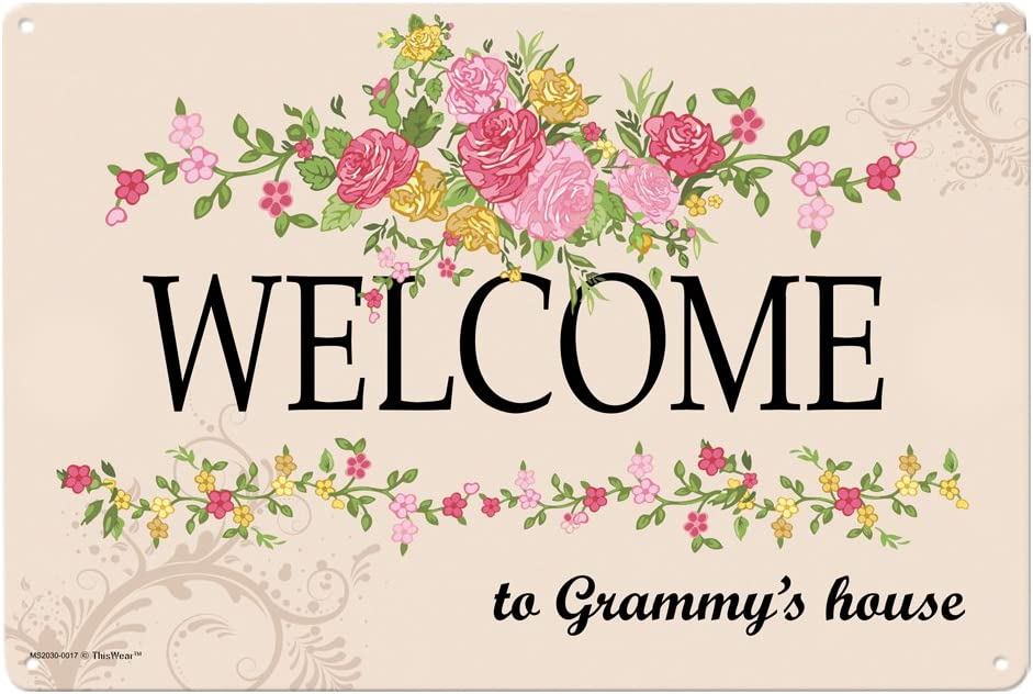 Grammy Gifts Welcome to Grammy's House Metal Decorative Sign Home Decor Kitchen Sign Novelty Sign