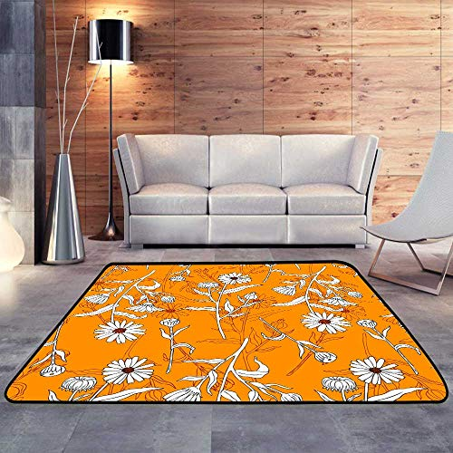 Calendula Roll - Indoor Outdoor Rugs,Seamless Floral Pattern Calendula Flower Isolated on irange Botanical.W 63
