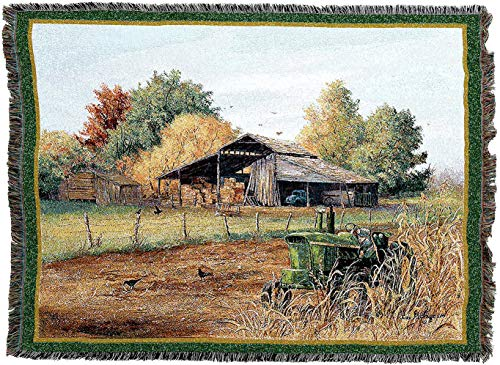 Pure Country Weavers - End of Harvest Woven Tapestry Throw Blanket with Fringe Cotton USA ()