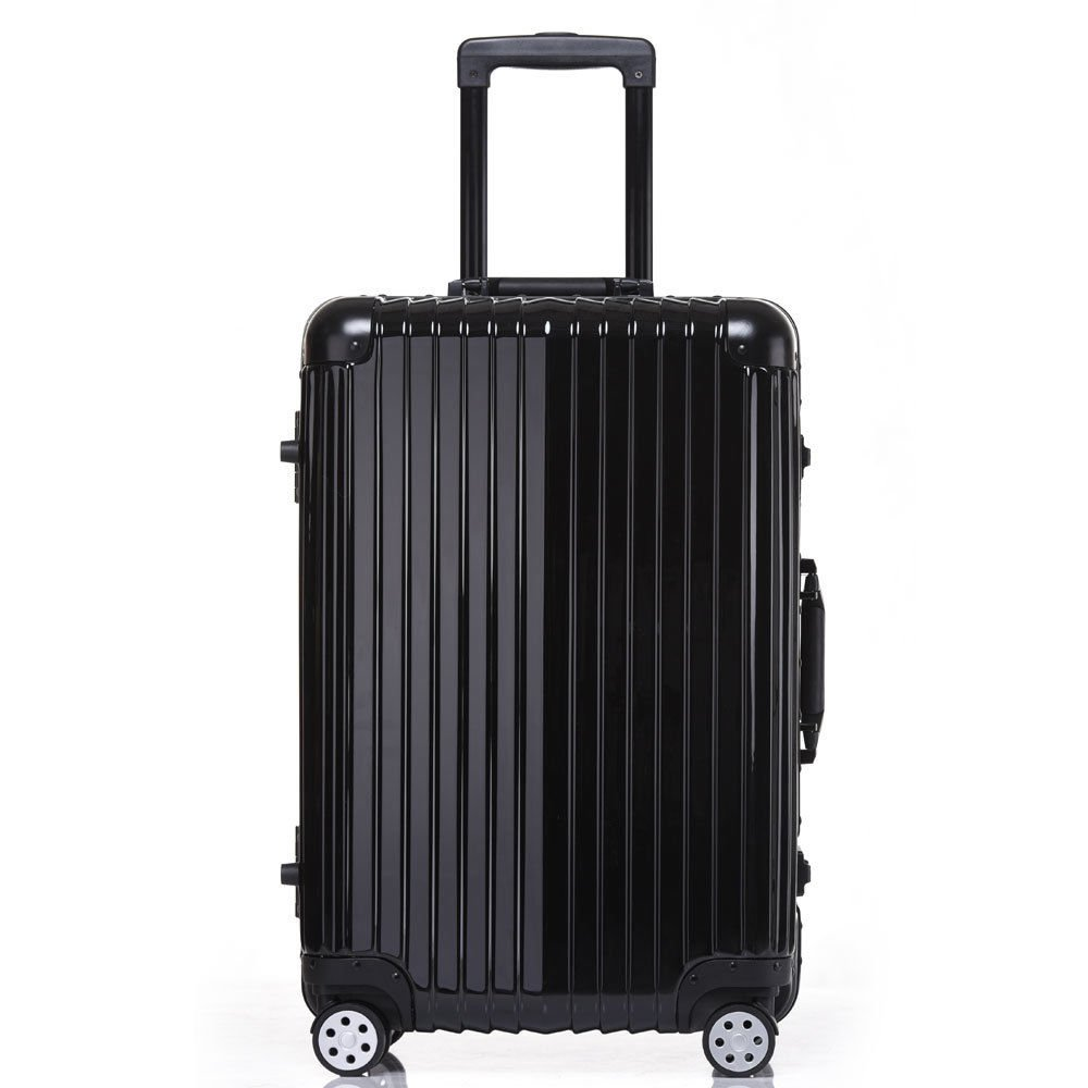 Aluminum Rolling Luggage Spinner Trolley Carry-On Suitcase Black 24 Inch