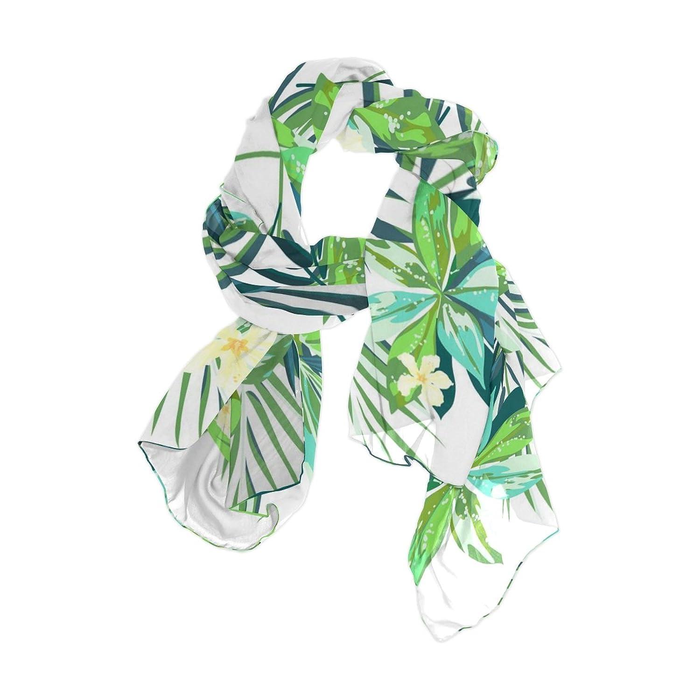 Senya Women's Fashion Large Long Sheer Silk Scarf Shawl Wrap, Tropical Pattern