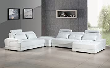 Amazon.com: Divani Casa Phantom – Moderno Blanco Seccional ...