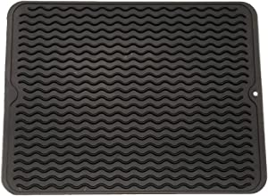 """ZLR Silicone Dish Drying Mat Easy Clean Dishwasher Safe Heat Resistant Eco-Friendly Trivet Black Large 15.8"""" X 12"""""""