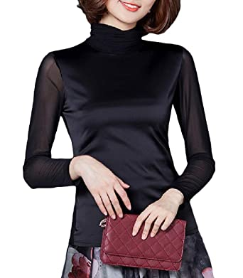 211f915ec278f4 Winwinus Womens Solid Silk Cowl Neck Mesh Long Sleeve Top Blouse Shirt Black  S