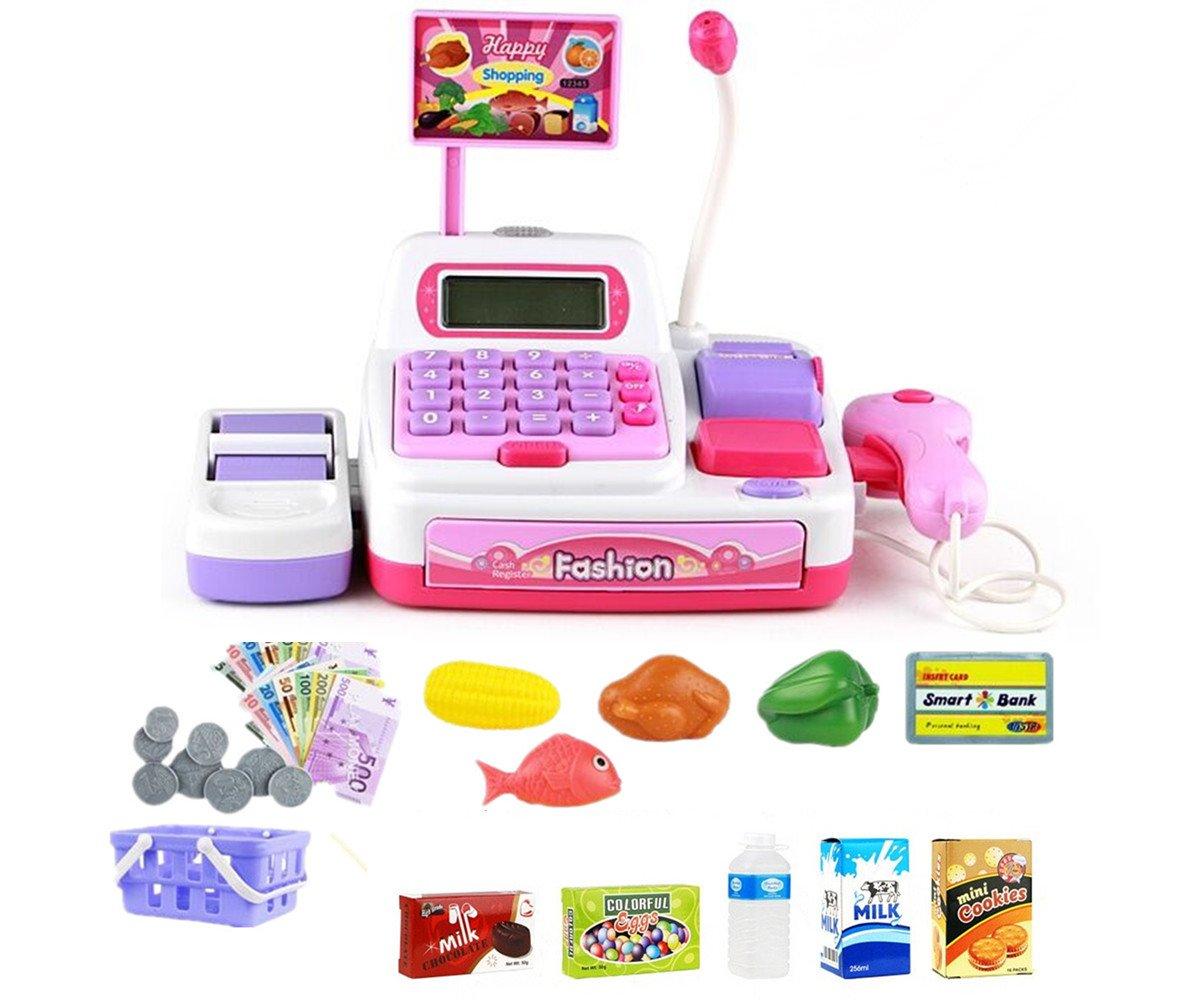 Juguetes de Caja Registradora de Supermercado Calculadora Juego de Aprendizaje Toy de rol de Niños de 3 Años y más Rosado 36 Pcs PAmRAY